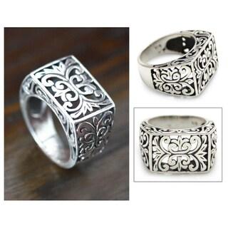 Emperor Balinese Handmade Artisan Open Work 925 Sterling Silver Mens Ring (Indonesia)