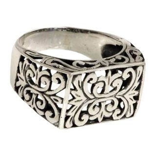 Handmade Emperor Balinese Handmade Artisan Open Work 925 Sterling Silver Mens Ring (Indonesia)