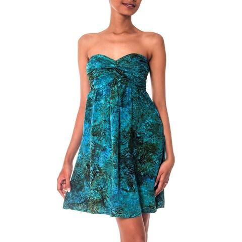 Handmade Rayon 'Java Emerald' Batik Dress (Indonesia)
