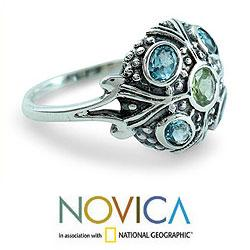 Enthralling Jaipur Round Faceted Blue Topaz and Peridot Gemstones in Ornate Antique Look 925 Sterling Silver Womens Ring (India)