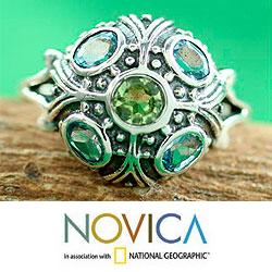 Enthralling Jaipur Round Faceted Blue Topaz and Peridot Gemstones in Ornate Antique Look 925 Sterling Silver Womens Ring (India) - Thumbnail 2
