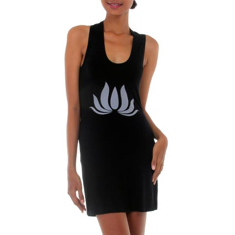 Handmade Rayon Lotus Flames Petals like flames in Black Jersey Knit Dress made in Indonesia