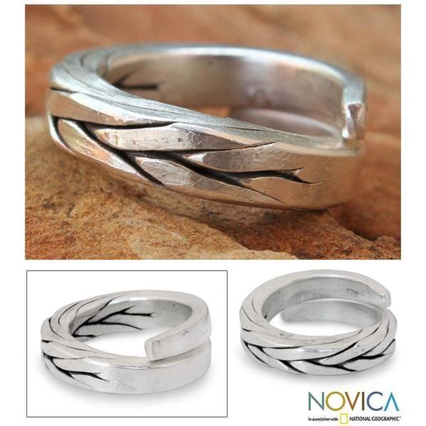 Handmade Men's Silver 'Hill Tribe Braid' Wrap Ring (Thailand)