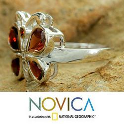 Handmade Sterling Silver 'Butterfly' Garnet Cocktail Ring (India) - Thumbnail 2