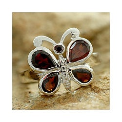 Handmade Sterling Silver 'Butterfly' Garnet Cocktail Ring (India)