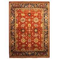 Hand-knotted Wool Rust Traditional Oriental Super Mahal Rug - 6' x 9'