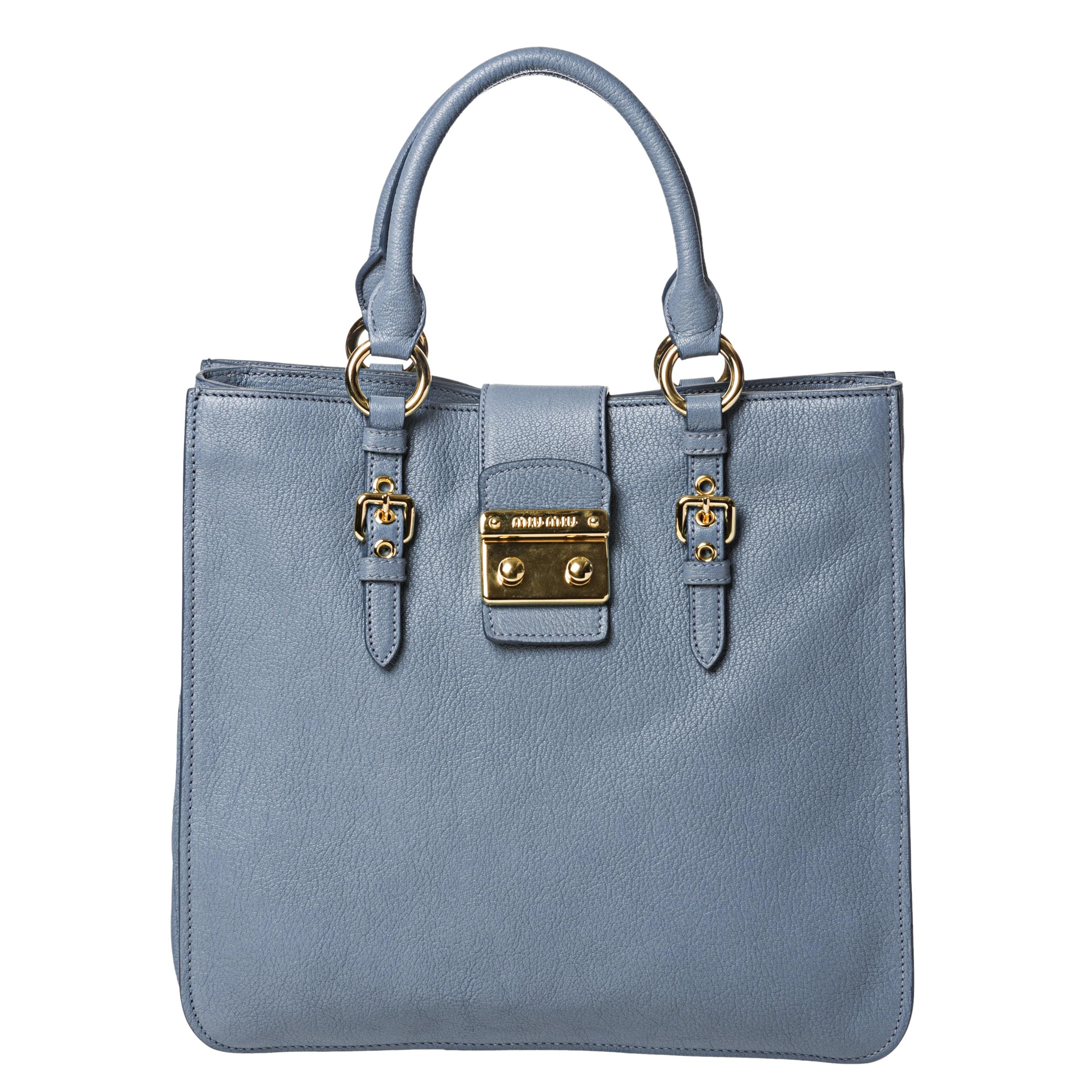Miu Miu 'Madras' Sky Blue Leather Tote Bag