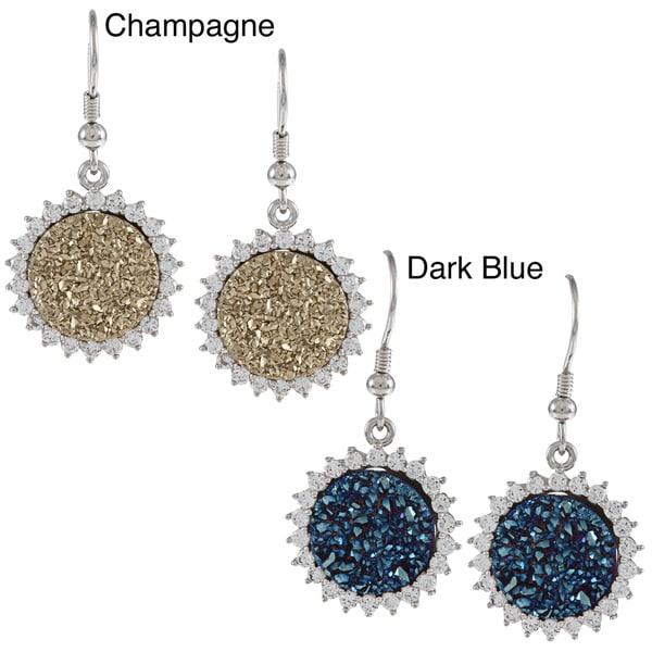 La Preciosa Sterling Silver Round Druzy Earrings