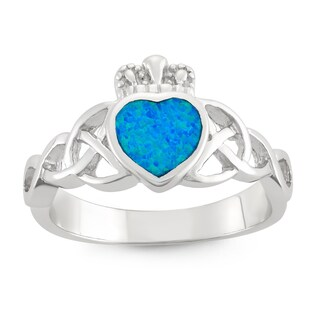 La Preciosa High-polish Sterling Silver Blue Heart Opal Ring (4 options available)