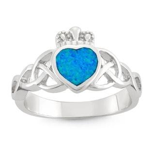 La Preciosa High-polish Sterling Silver Blue Heart Opal Ring