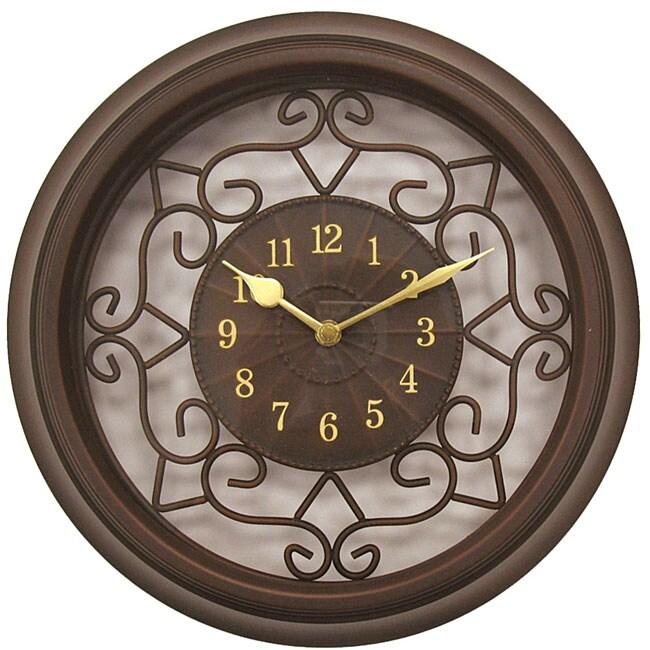 Geneva 15-inch Brown Plastic/ Wrought Iron Wall Clock