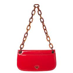 Prada 'Madras' Red Patent Leather Shoulder Bag - Thumbnail 2