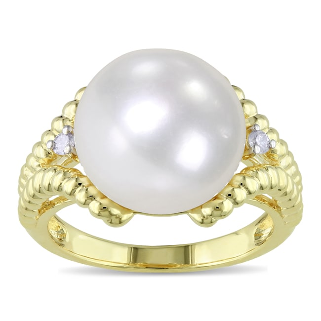 Miadora Gold-plated Silver Pearl and Diamond Accent Ring (H-I, I3)