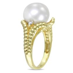 Miadora Gold-plated Silver Pearl and Diamond Accent Ring (H-I, I3) - Thumbnail 1