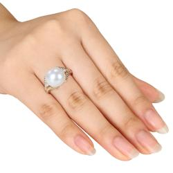 Miadora Gold-plated Silver Pearl and Diamond Accent Ring (H-I, I3) - Thumbnail 2