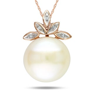 Miadora 10k Pink Gold Cultured Freshwater Pearl and Diamond Accent Pendant (G-H, I1-I2)