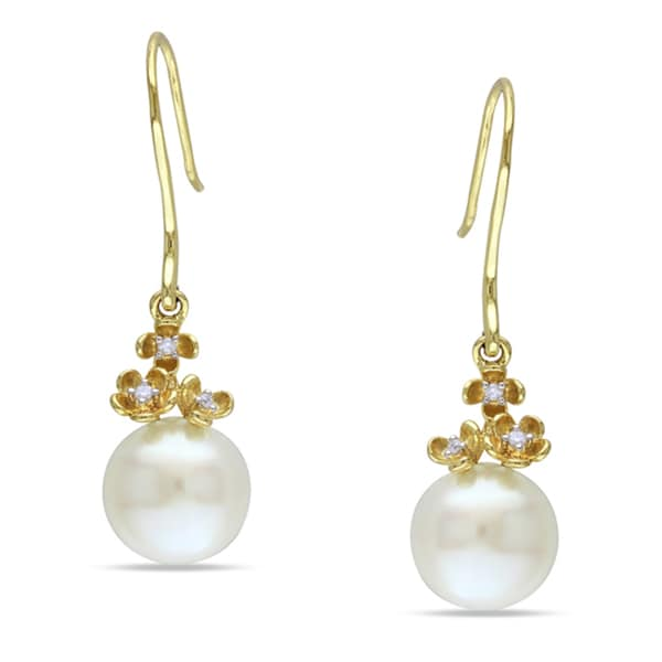 Miadora 10k Yellow Gold Cultured Freshwater Pearl and Diamond Accent Earrings (G-H, I1-I2)
