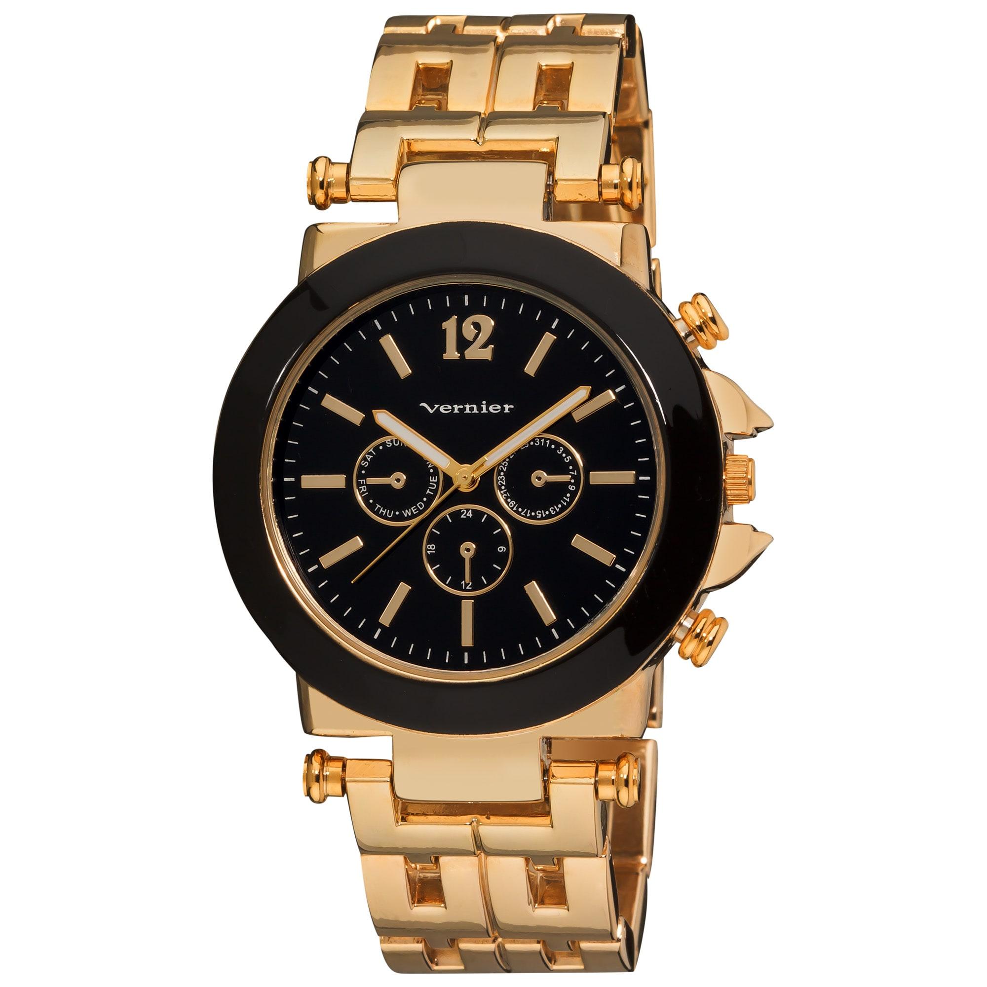 Vernier Women's Faux Chrono Pattern Bracelet Quartz Gold-Tone Watch