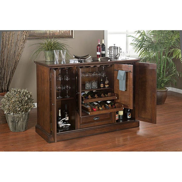 15 Majestic Contemporary Home Bar Designs For Inspiration: Shop Charlotte 60-inch Spice Finish Home Bar