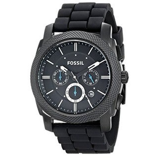 Fossil Men's FS4487 Machine Chronograph Black Dial Watch with Black Silicone Strap
