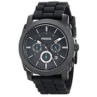 Fossil Men's  Machine Chronograph Black Dial Watch with Black Silicone Strap