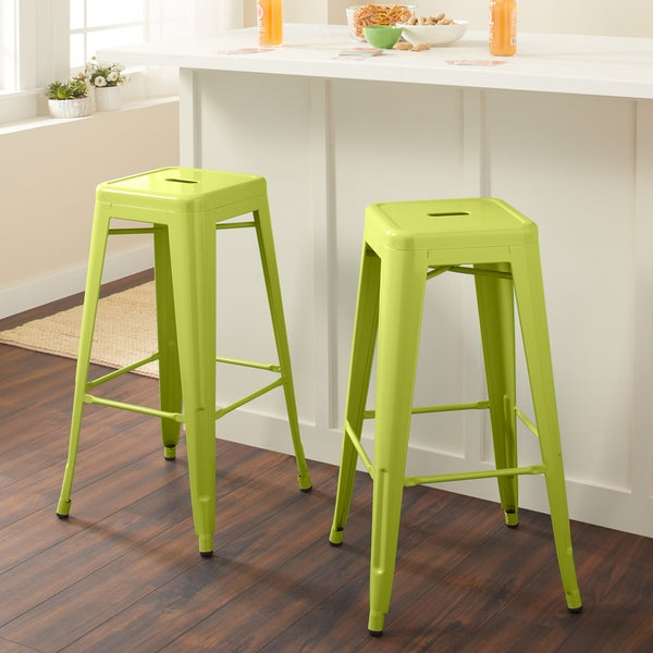 Carbon Loft Tabouret 30-inch Limeade Metal Bar Stools (Set of 2)