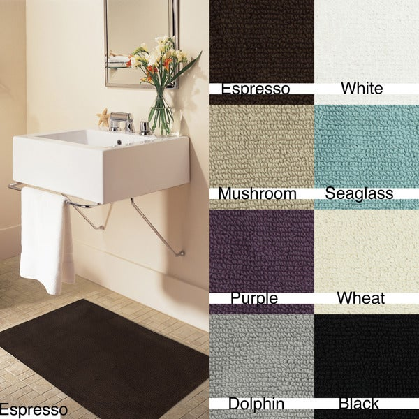 Canvas-backed Solid-colored Cotton Casual 20 x 34 Bath Rugs (set of 2)