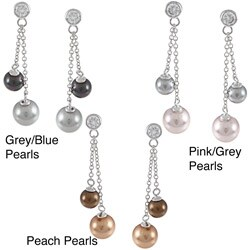 La Preciosa Sterling Silver CZ and Shell Pearl Earrings