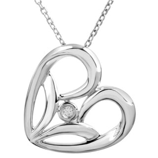 Bridal Symphony Sterling Silver 0.02CTtw Diamond Accent Heart Necklace