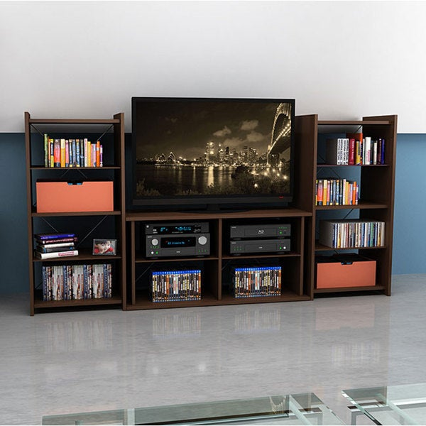 Mocha Finish 42-inch TV Stand with Two Audio Stands