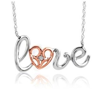 Bridal Symphony Diamond 'Love' Cursive Word Necklace