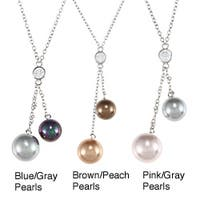 La Preciosa Sterling Silver CZ and Shell Pearl Necklace