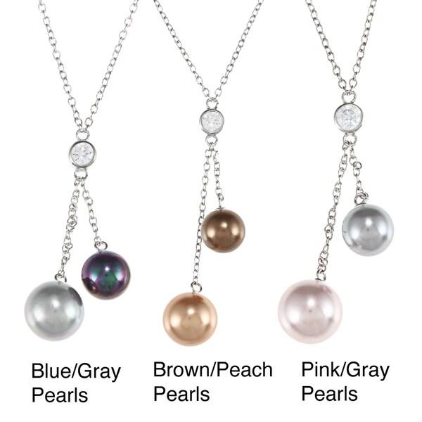 La Preciosa Sterling Silver CZ and Shell Pearl Necklace