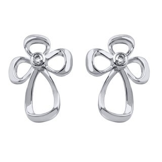 Sterling Silver Diamond Accent Jessica Simpson Cross Earrings