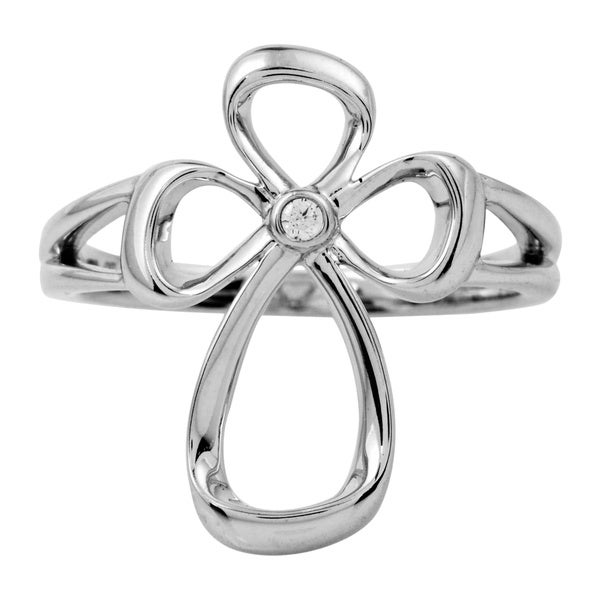 Bridal Symphony Sterling Silver 0.02ct Diamond Accent Cross Ring