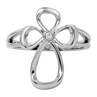 Bridal Symphony Sterling Silver 0.02ct Diamond Accent Cross Ring (I-J, I2-I3)