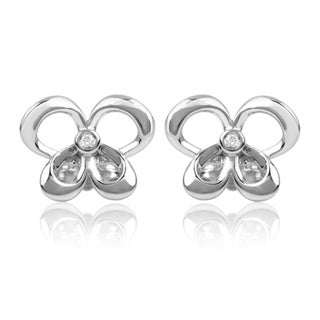 Bridal Symphony Sterling Silver Diamond Accent Butterfly Stud Earrings (I-J, I2-I3)