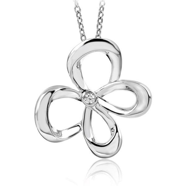 Bridal Symphony Sterling Silver Diamond Accent Butterfly Necklace