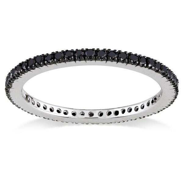 Miadora 14k White Gold 3/8ct TDW Black Diamond Ring