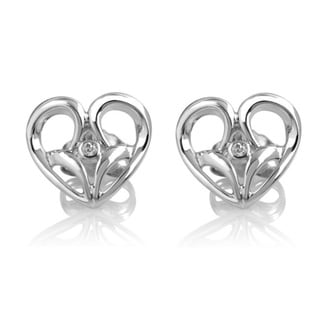 Bridal Symphony Sterling Silver 0.02CTtw Diamond Accent Heart Stud Earring (I-J, I2-I3)