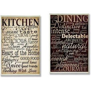 Dining Words' and 'Kitchen Words' 2-piece Typography Kitchen Wall Plaque Set - Brown