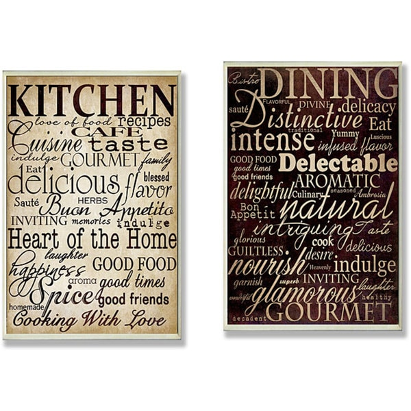 Dining Words' and 'Kitchen Words' 2-piece Typography Kitchen Wall Plaque Set