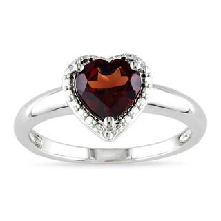Miadora Sterling Silver Heart-shaped Birthstone Ring