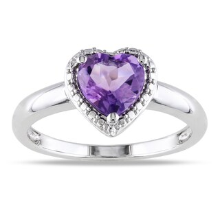 Miadora Sterling Silver Heart-shaped Birthstone Ring (More options available)