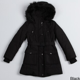 Jessica Simpson Girl's Hooded Belted Coat