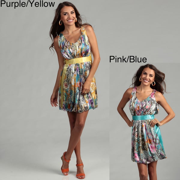 Issue New York Women's Printed Silk Bubble Hem Dress