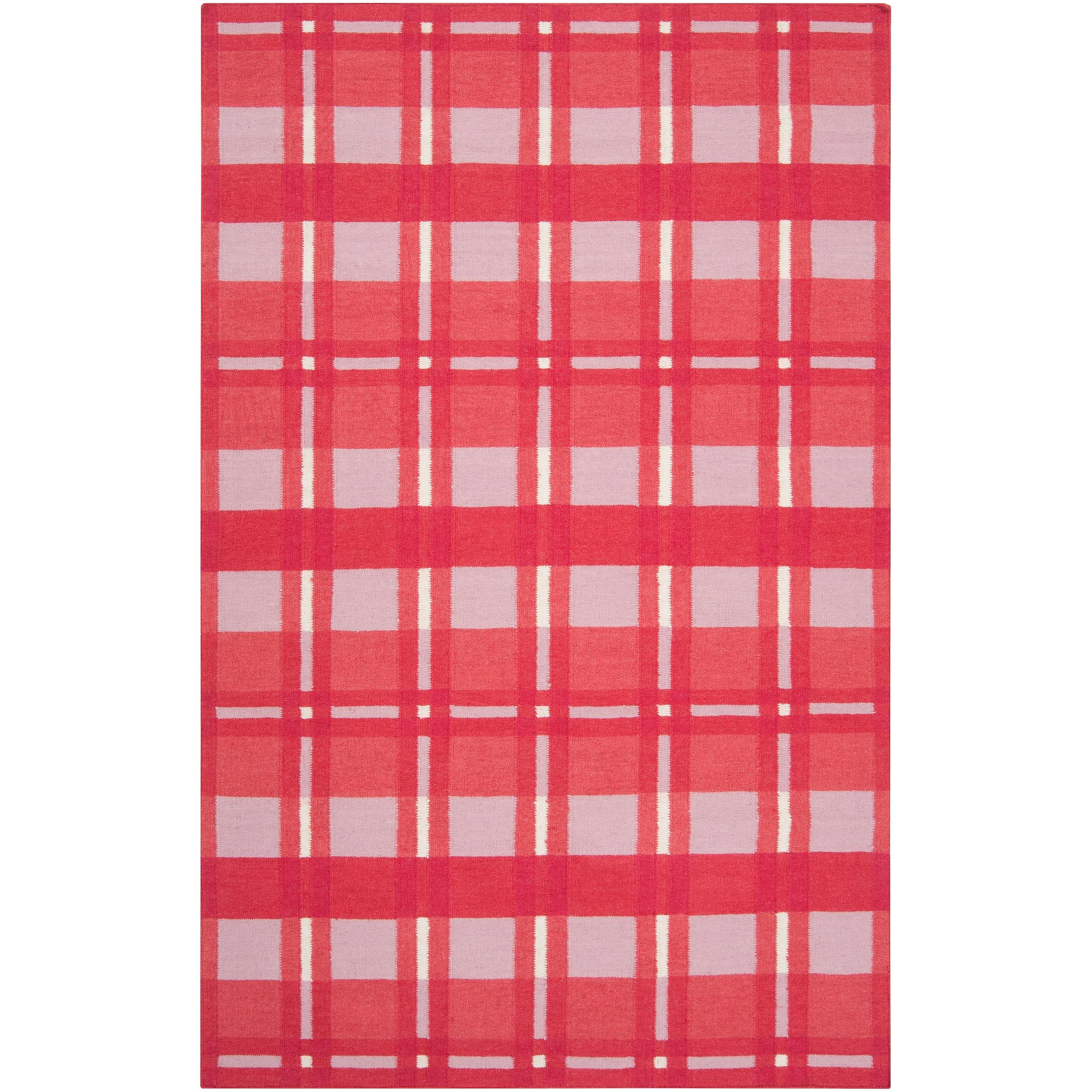 Hand-woven Pink Hapac Wool Area Rug - 5' x 8'