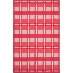 Hand-woven Pink Hapac Wool Area Rug - 5' x 8' - Thumbnail 0