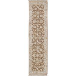 Hand-knotted Brown Maine Ave New Zealand Hard Twist Wool Rug (2'6 x 10')