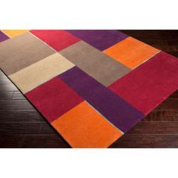 Hand-tufted Gray Diego Martin Geometric Pattern Wool Rug (9' x 12')